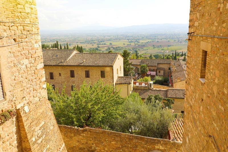 Beautiful glimpse view from old Italian city in Assisi, Umbria, Italy.  stock image