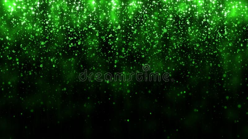 Beautiful glitter light background. Background with green falling particles template for premium design. Magic light stock illustration