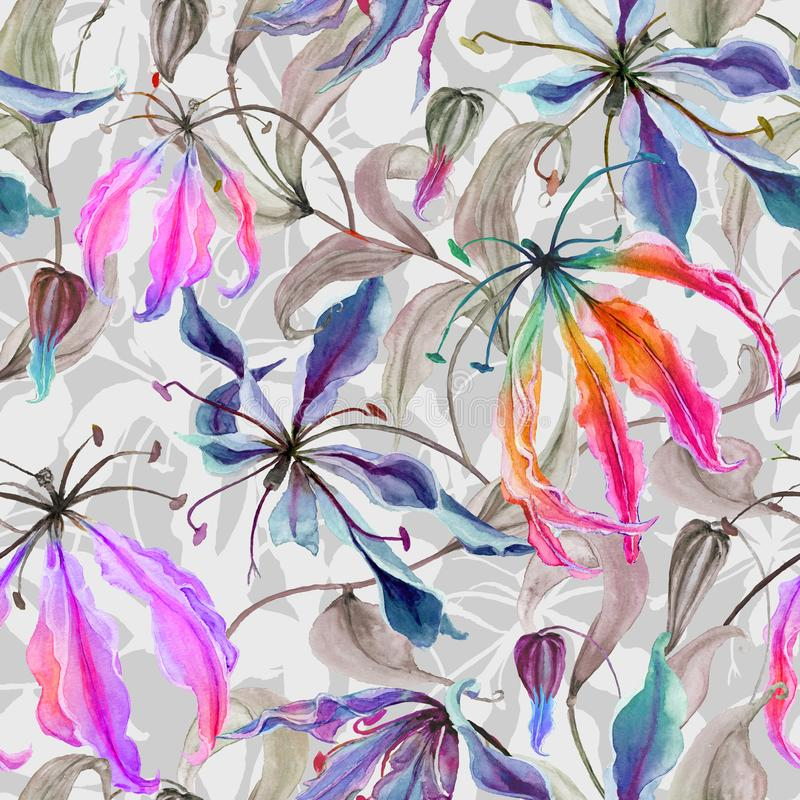 Beautiful gloriosa lily flowers with climbing leaves on gray background. Seamless floral pattern. Watercolor painting. Hand painted illustration. Fabric vector illustration