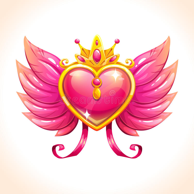 Beautiful glossy brooch icon. Fancy diamond heart with pink angel wings and golden crown. Vector icon royalty free illustration