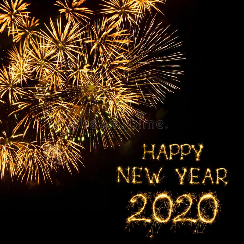 Beautiful Glowing overlay template Happy New Year 2020 stock image