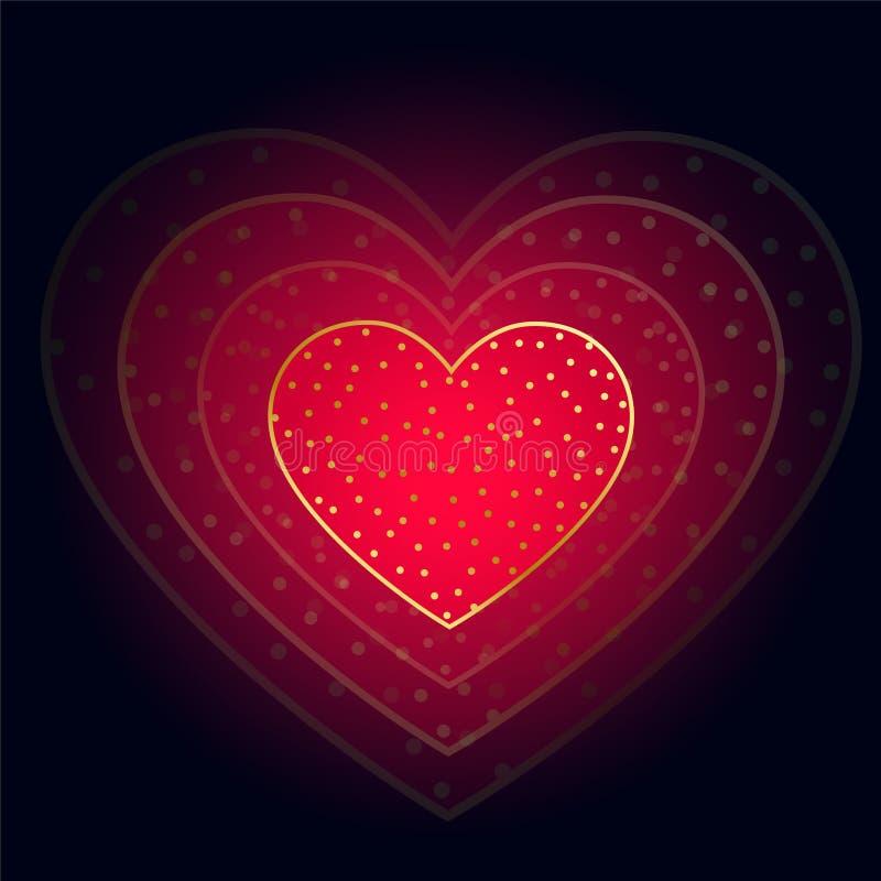 Beautiful glowing red heart on dark background stock illustration