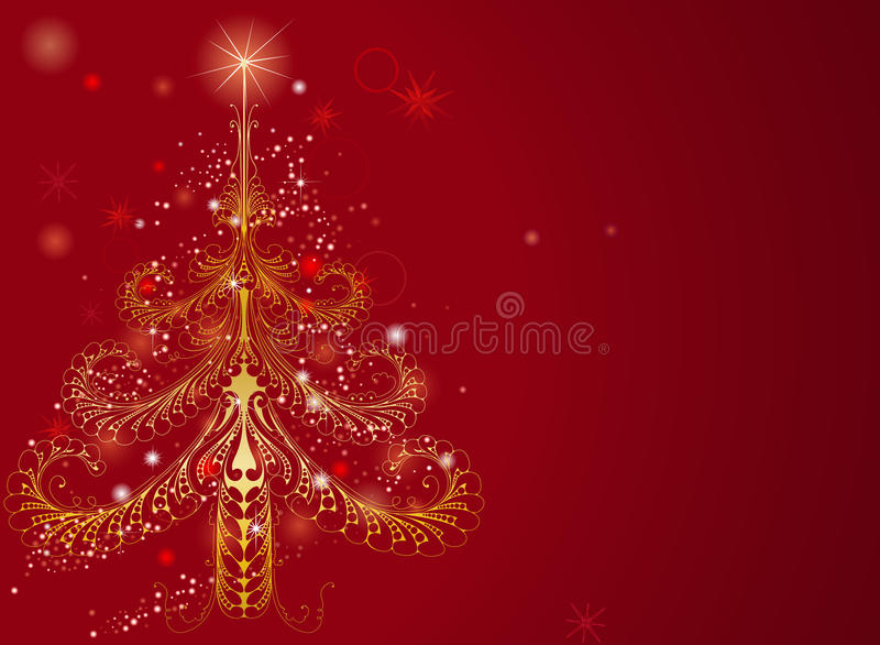 Beautiful Gold Christmas Tree Background Stock Images