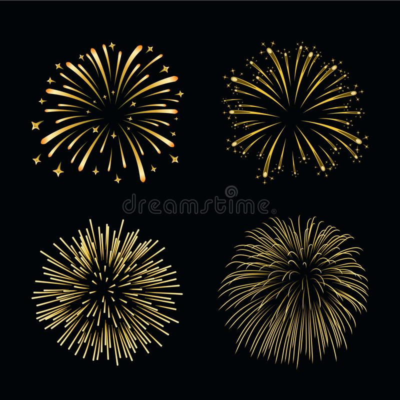 Beautiful gold fireworks set. Bright fireworks isolated black background. Light golden decoration fireworks for stock illustration