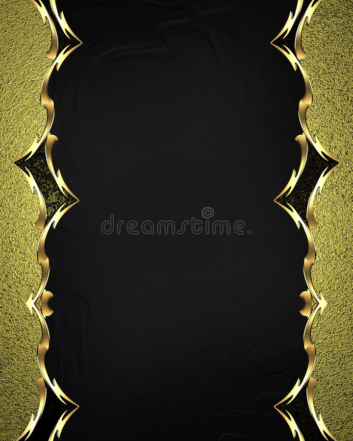 Beautiful gold frame with gold ornaments on black background. Element for design. Template for design. copy space for ad brochure. Or announcement invitation royalty free stock photos