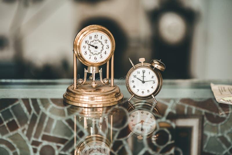 Gold and retro clock stock image