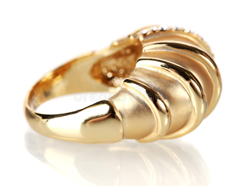 Beautiful Gold Ring With Precious Stones Stock Photo - Image of ...