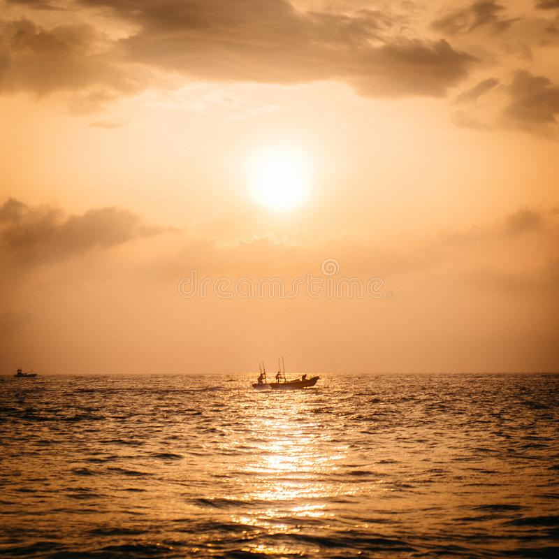 Beautiful sunset over the Indian Ocean. Beautiful gold sunset sunrise over the Indian Ocean stock photography