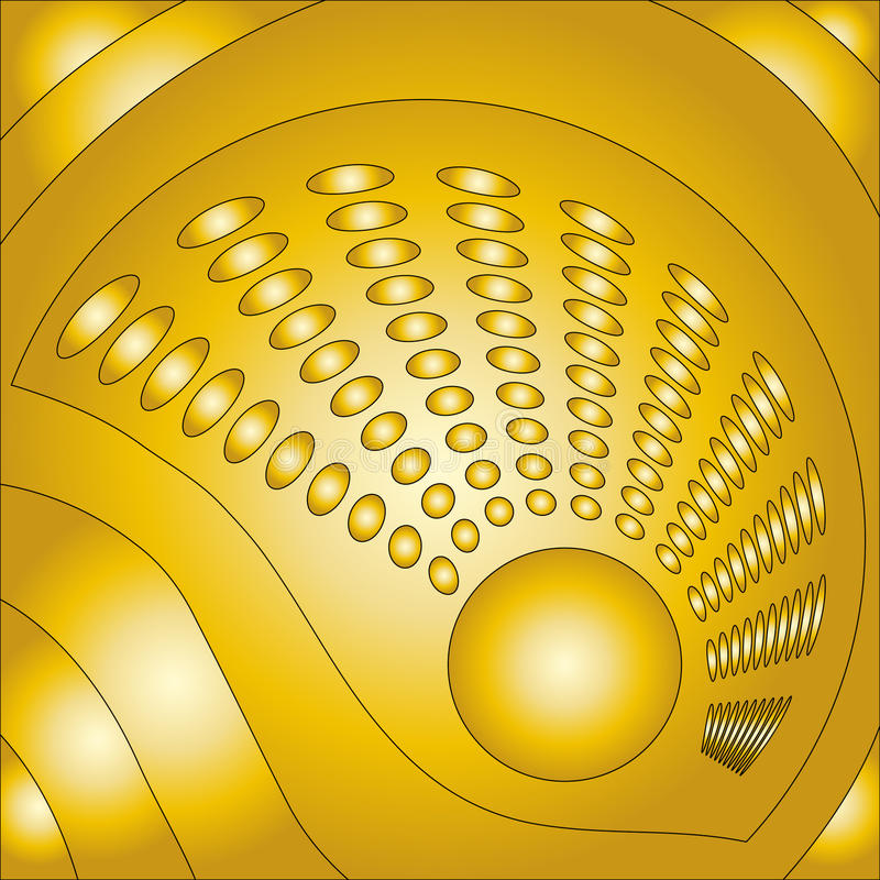 Beautiful golden background. With circles stock illustration