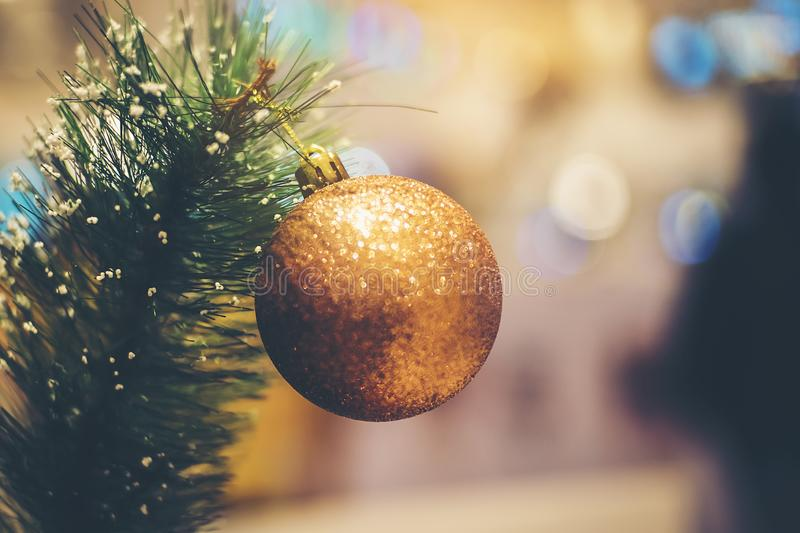 Beautiful golden balls that are indispensable to decorate the Christmas tree stock photography