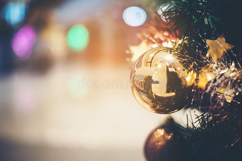 Beautiful golden balls that are indispensable to decorate the Christmas tree stock photos
