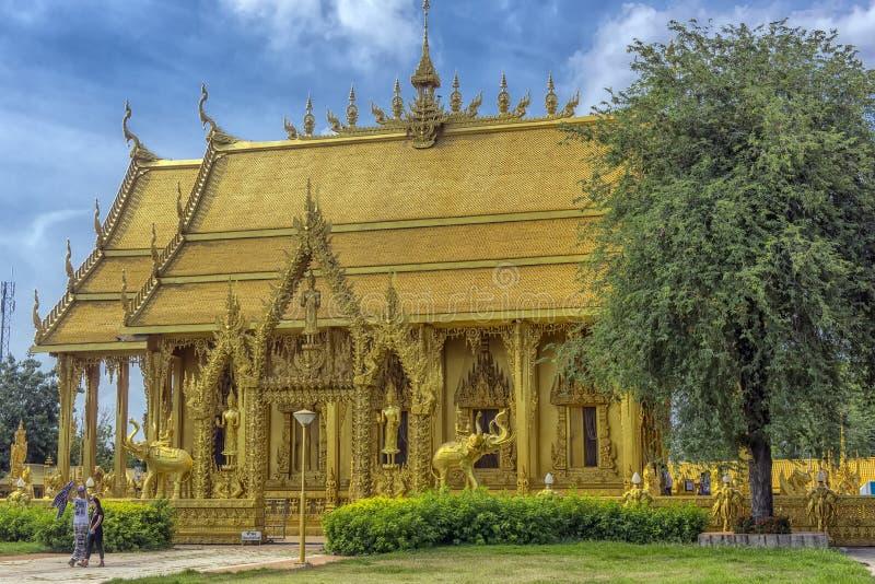 Beautiful golden chapel of Wat Paknam Jolo,Bangkhla,Chachoengsao Province,Thailand royalty free stock photo