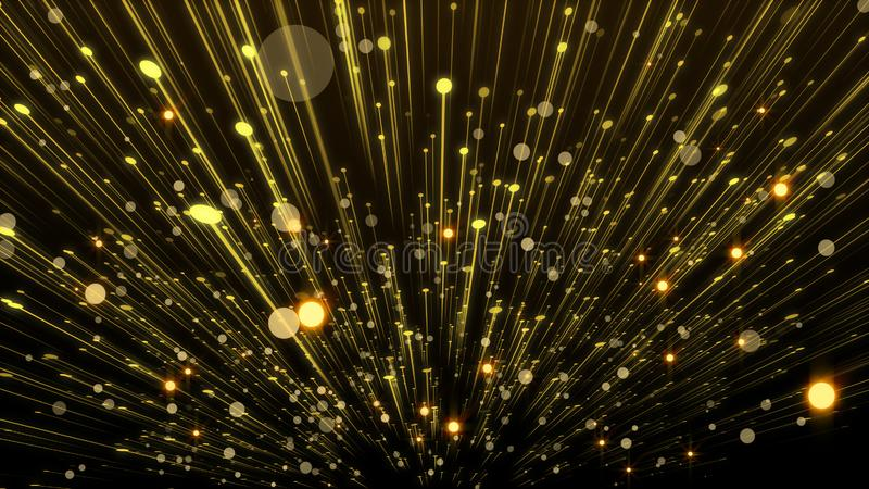 Beautiful golden curtain abstract background with particle rain vector illustration