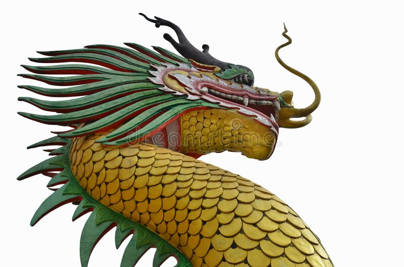 Beautiful golden dragon sculpture on white background royalty free stock image