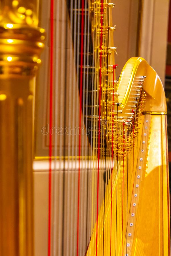 Beautiful golden harp strings close up. Musical instruments of the Orchestra in philharmonia stock images