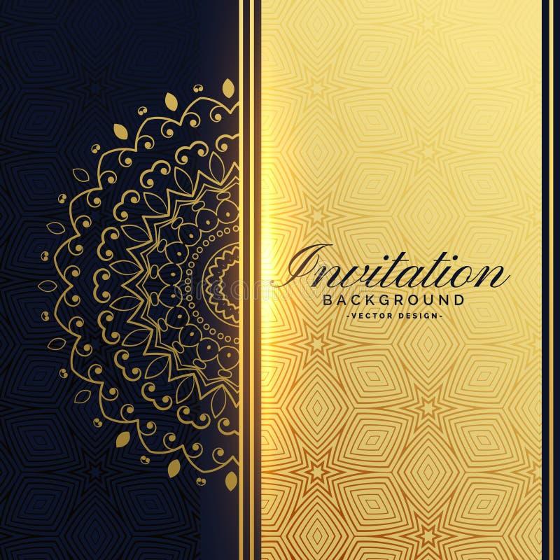 Beautiful golden invitation background with mandala decoration stock illustration