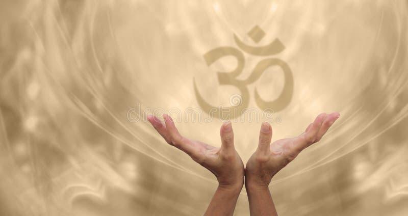 Beautiful Golden Om Healing Energy royalty free stock photo