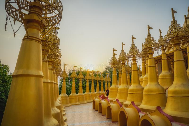 Beautiful golden pagodas in the center of Vipasana practice. Kanpur, India royalty free stock photos