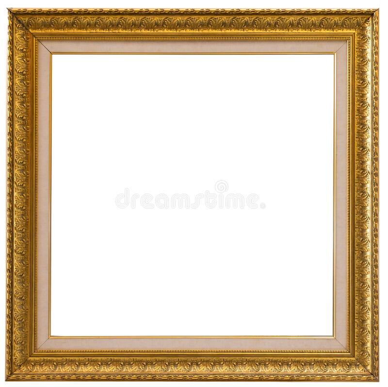 Beautiful golden picture frame vintage carved gilded border antique for interior decoration on white background, Concept gallery. Exhibition presentation modern stock images