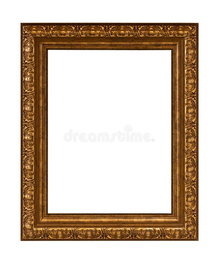 Beautiful golden picture frame vintage carved gilded border antique for interior decoration on white background, Concept gallery. Exhibition presentation modern royalty free stock photo