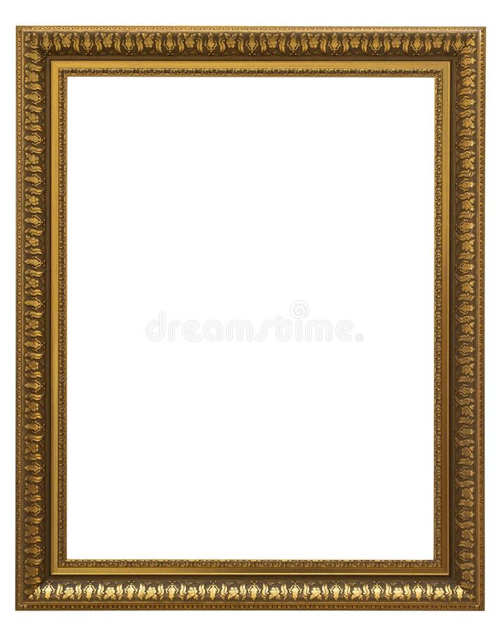 Beautiful golden picture frame vintage carved gilded border antique for interior decoration on white background, Concept gallery. Exhibition presentation modern royalty free stock image
