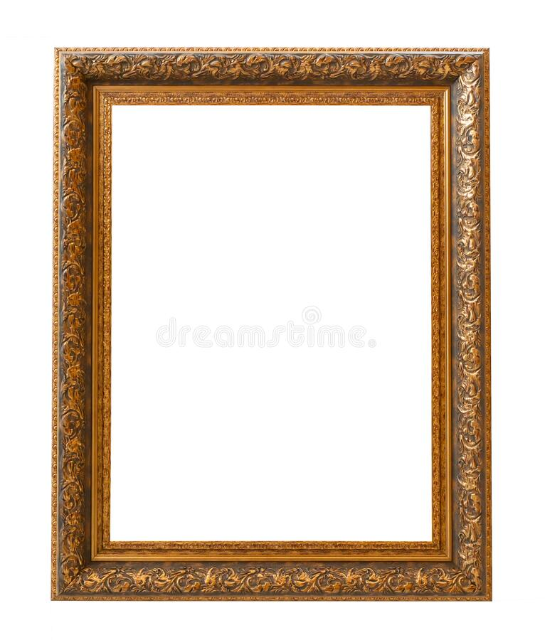 Beautiful golden picture frame vintage carved gilded border antique for interior decoration on white background, Concept gallery. Exhibition presentation modern royalty free stock photography