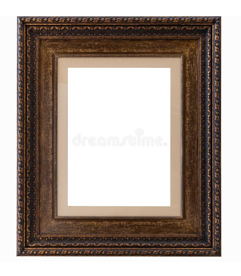 Beautiful golden picture frame vintage carved gilded border antique for interior decoration on white background, Concept gallery. Exhibition presentation modern royalty free stock images