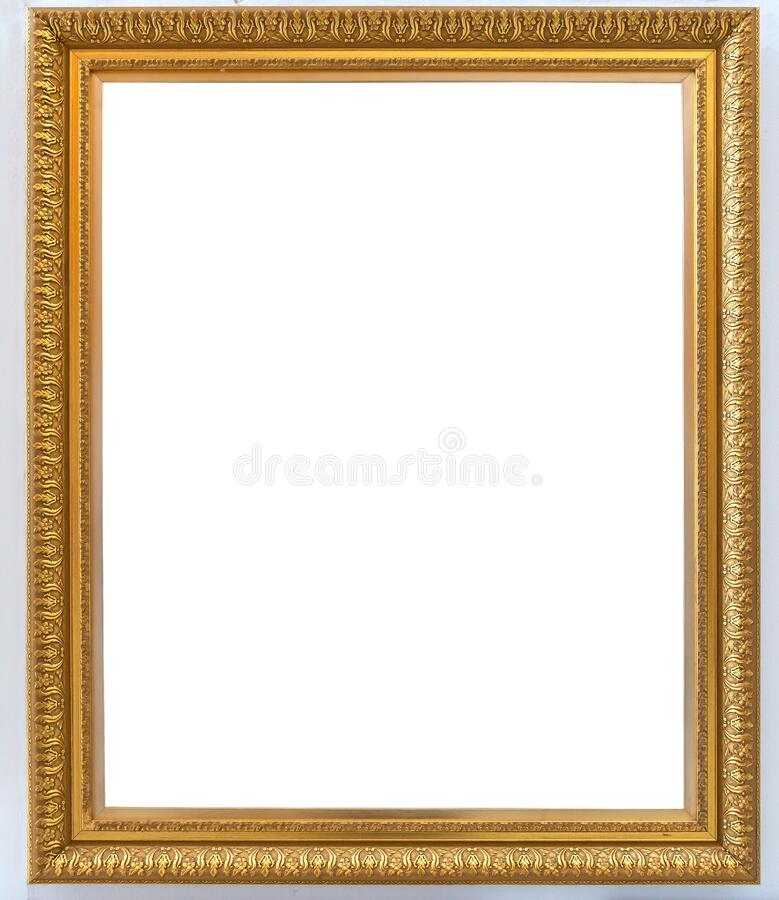 Beautiful golden picture frame vintage carved gilded border antique for interior decoration on white background, Concept gallery. Exhibition presentation modern stock image