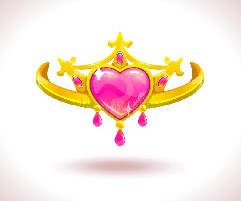 Beautiful golden princess crown. With pink ruby hearts. Vector cartoon diadem icon vector illustration