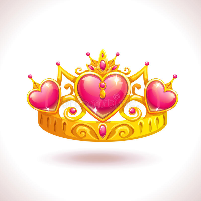 Beautiful golden princess crown. With pink ruby hearts. Vector cartoon diadem icon stock illustration