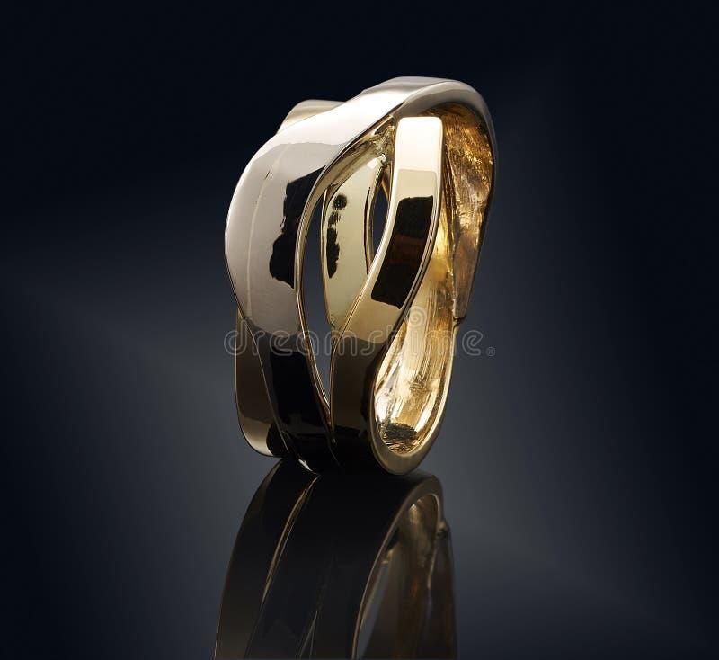 Beautiful Golden Ring On Black Background Stock Illustration ...