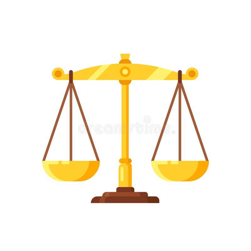 Beautiful golden scales. Weighing decisions, judgments, symbol justice and balance. stock illustration