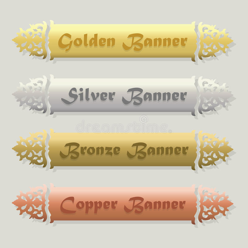 Free Beautiful Golden, Silver, Bronze, And Copper Floral Beveled Banners Set Royalty Free Stock Image - 55879016