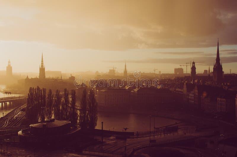 Stockholm golden sunset royalty free stock image