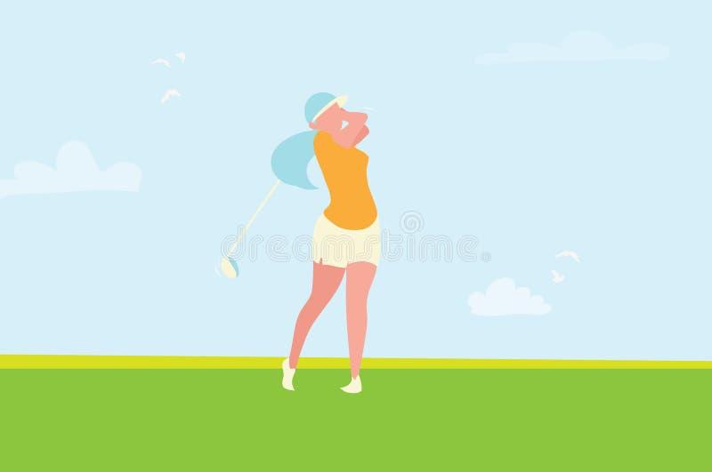Beautiful golf girl. Female golfer. Sport game Tournament. stock illustration