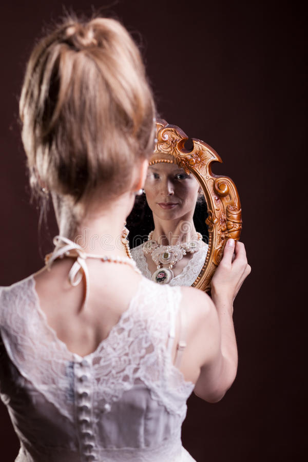 Beautiful gorgeous woman in victorian style royalty free stock image