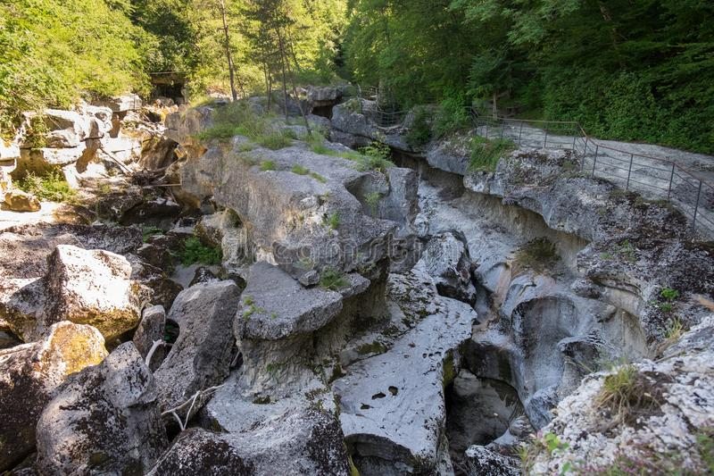 Beautiful Gorges du Fier, french canyon near Annecy. Haute-Savoie department. France royalty free stock images