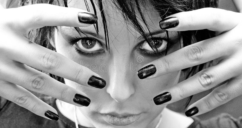 Download Beautiful Goth Woman stock photo. Image of coldly, fingers - 3348992