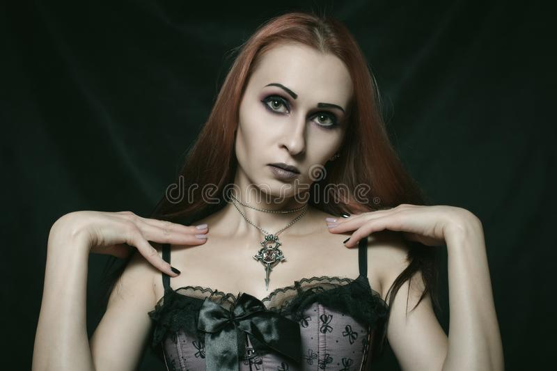 Beautiful gothic girl royalty free stock images