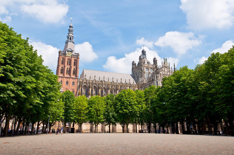 Beautiful Gothic style cathedral in Den Bosch, Netherlands royalty free stock photography