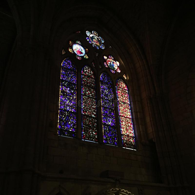Beautiful gothic window on a cathedral, Spain. Ventanal gótico stock image