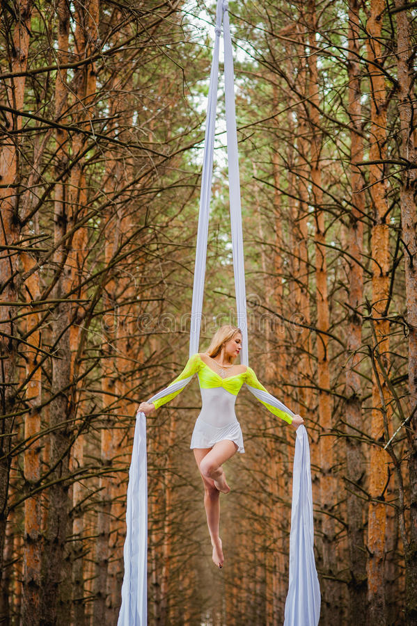 Beautiful and graceful trapeze artist performs exercises on aerial silk. In the forest stock photo
