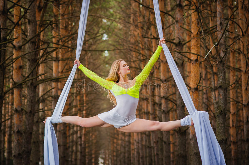 Beautiful and graceful trapeze artist performs exercises on aerial silk. In the forest stock images
