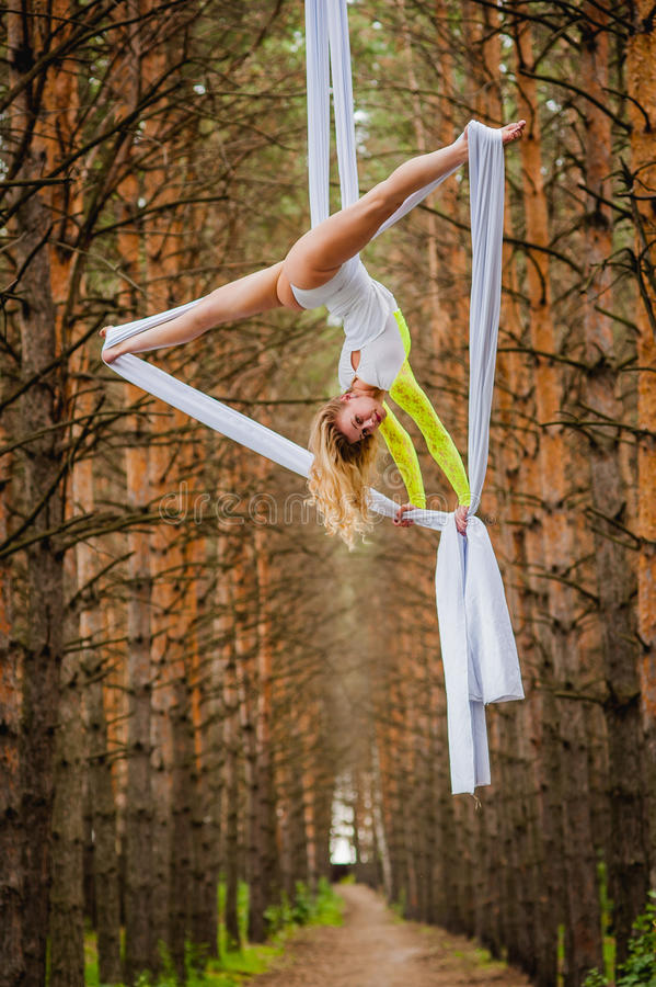 Beautiful and graceful trapeze artist performs exercises on aerial silk. In the forest royalty free stock photography