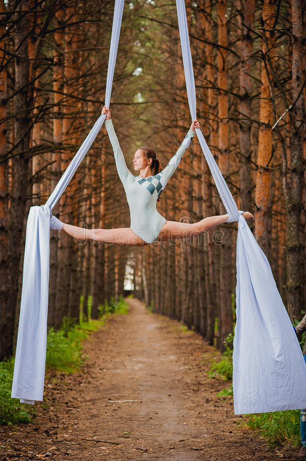 Beautiful and graceful trapeze artist performs exercises on aerial silk. In the forest royalty free stock photo