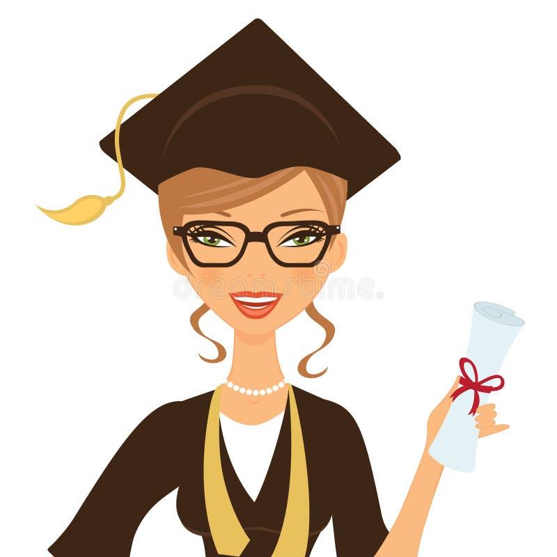 Beautiful gradute woman royalty free illustration
