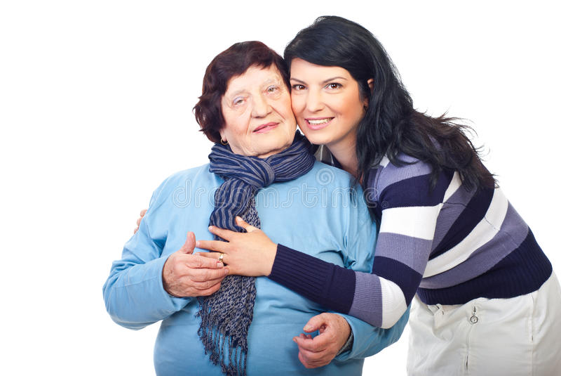 Beautiful granddaughter and grandmother stock image