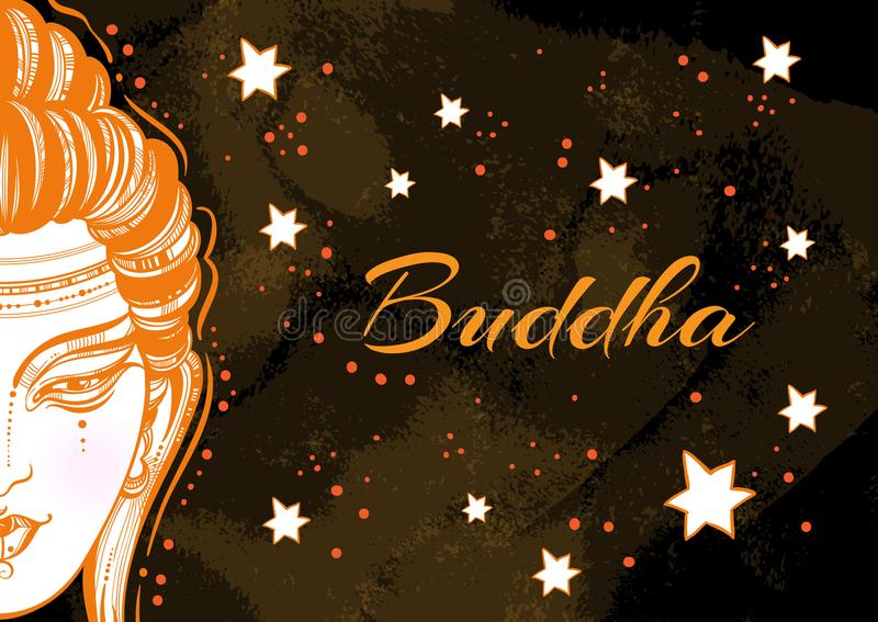 Beautiful graphic Buddha face over the dark magic background. Hand-drawn high-quality vector composition. Watercolor background. Spiritual and religious stock illustration