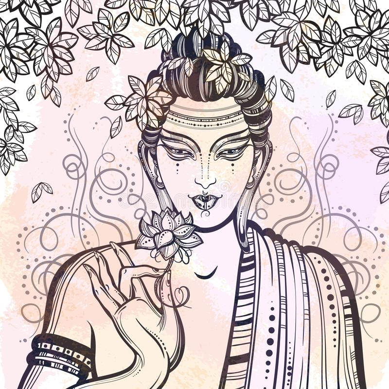 Free Beautiful Graphic Buddha Face Over The Bodhi Tree. Hand-drawn High-quality Vector Composition. Watercolor Background. Royalty Free Stock Images - 116308529