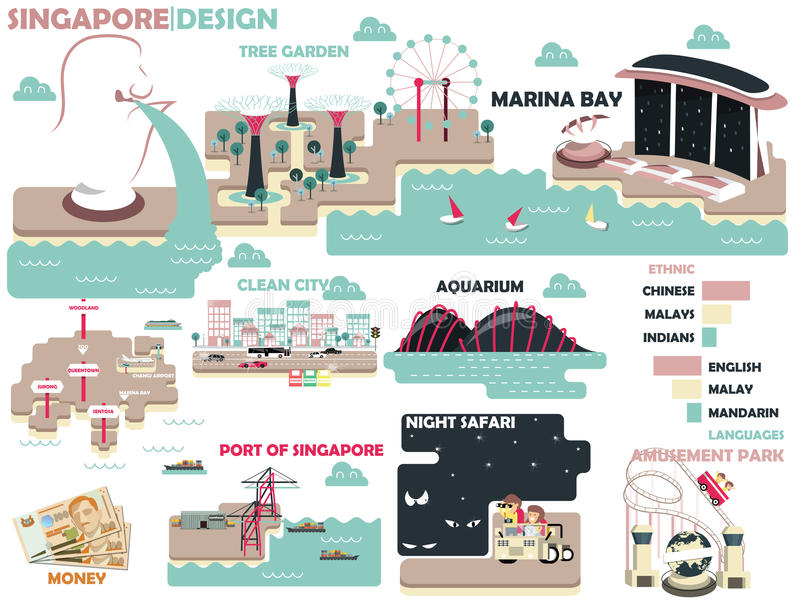 Beautiful graphic design of Singapore with light color vector illustration